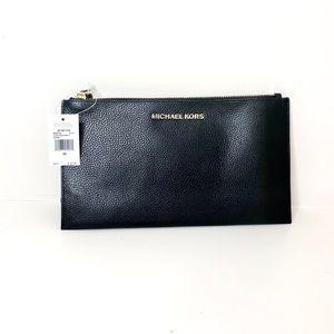 Michael Kora Black Zipper Leather Wristlet